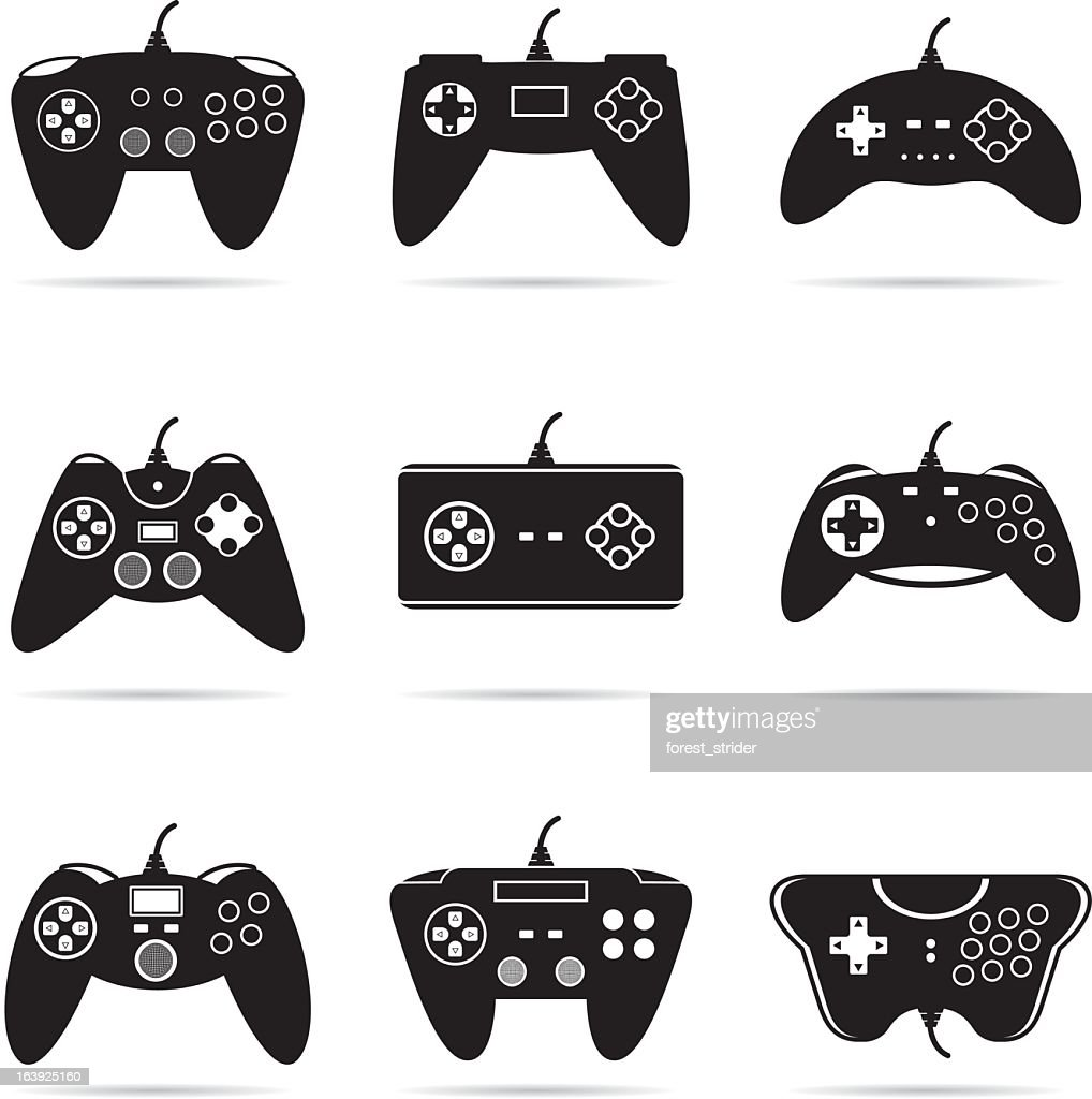 Isolated image of an Assortment of gamepads : stock illustration