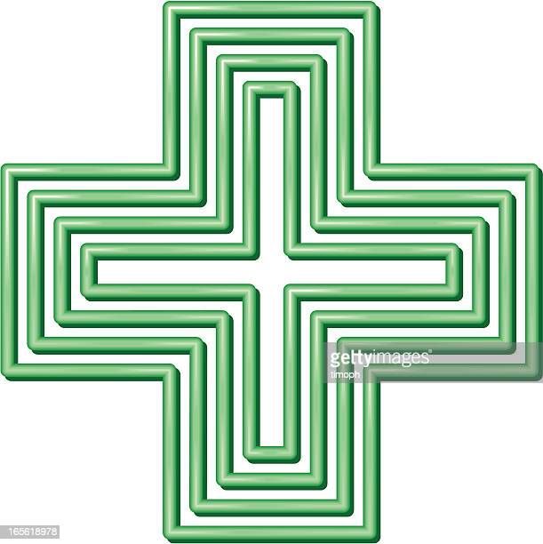 isolated image of the green cross on white - cross shape stock illustrations, clip art, cartoons, & icons