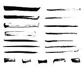 Isolated ink brush black strokes