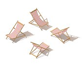 Isolated isometric chaise-longue wooden red striped deck chair, isolated on white background. Deck chair or Beach chaise longue. Flat 3d isometric illustration.