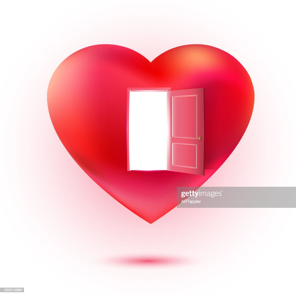 Isolated love symbol with lighting open door
