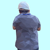 Isolated low poly of safety engineer on soft back ground,geometric style,Abstract vector