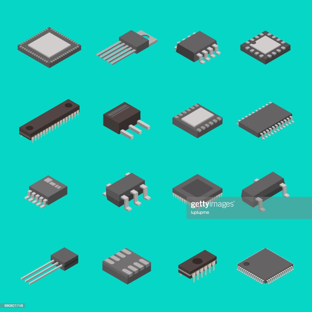 Isolated microchip semiconductor computer electronic components isometric icons vector illustration