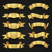 Isolated modern golden shiny 3d ribbon banners vector collection