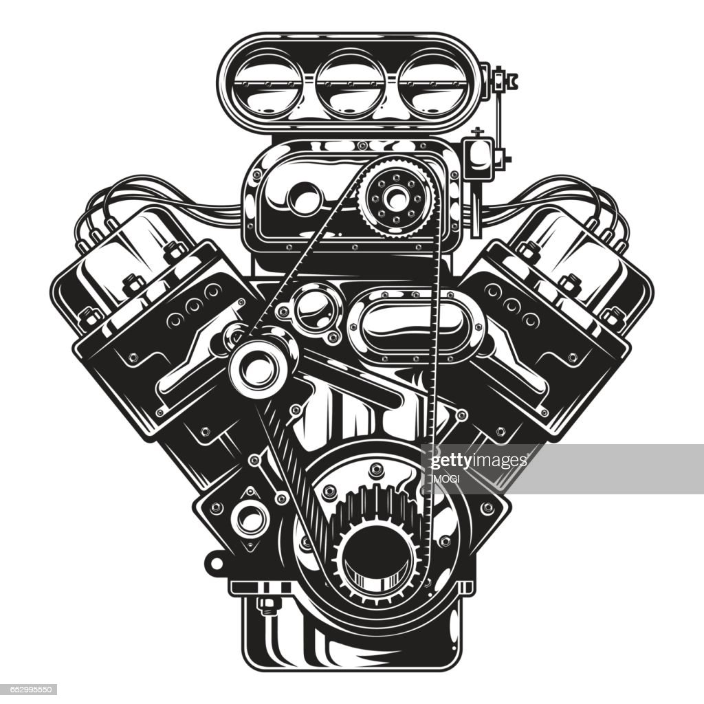 Isolated monochrome illustration of car engine
