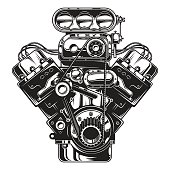Isolated monochrome illustration of car engine
