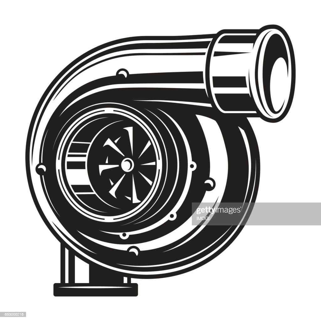 Isolated monochrome illustration of car turbo charger