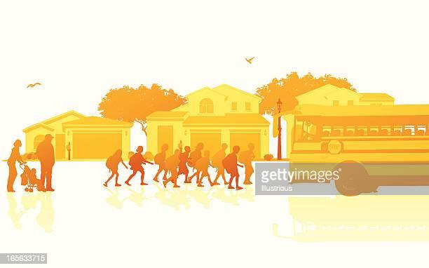 illustrations, cliparts, dessins animés et icônes de isolé quartier scolaire arrêt de bus devant de la scène - abribus