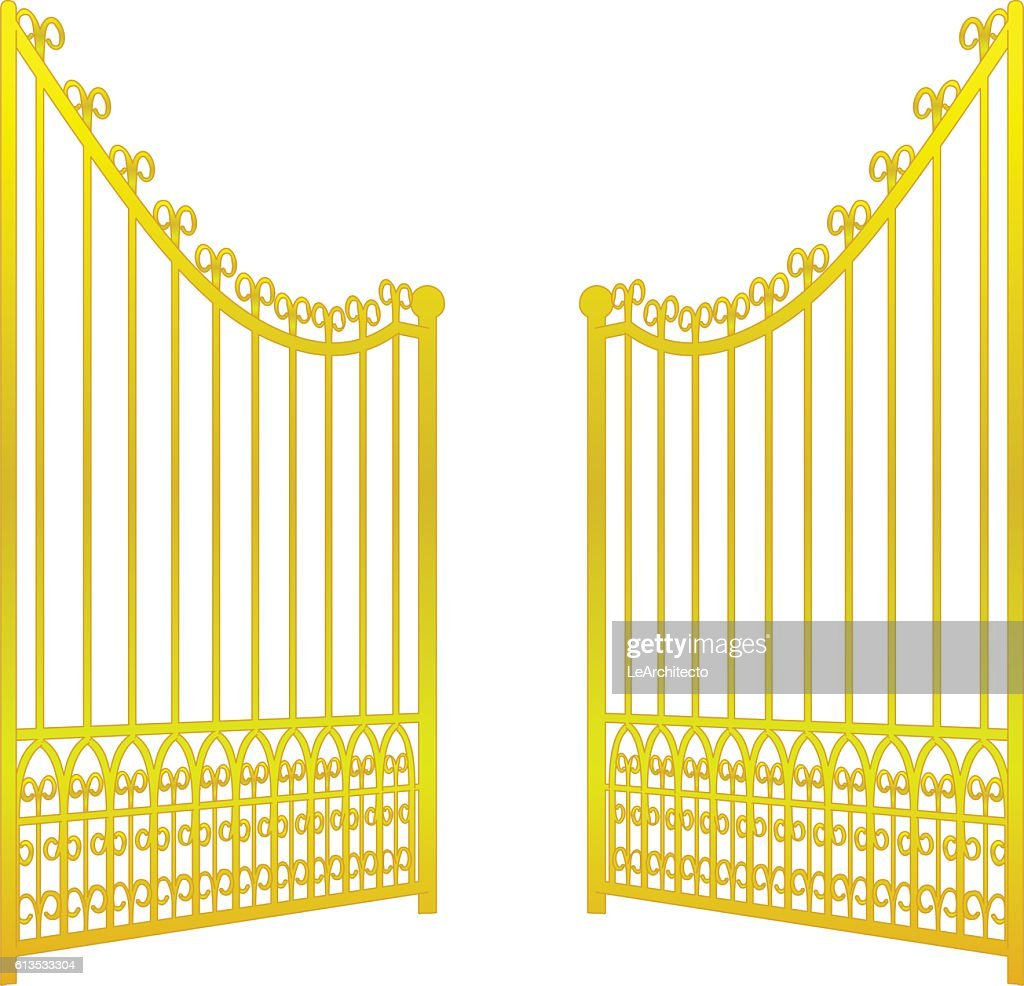 isolated on white open golden gate fence vector