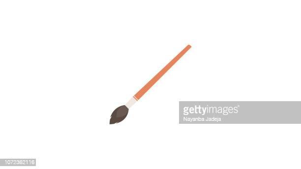 ilustraciones, imágenes clip art, dibujos animados e iconos de stock de icono de pincel de pintura aislado - cepillar