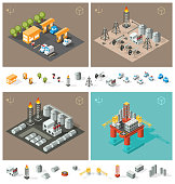 Isolated Petrol Station, Oil Rig Industry, Oil Refinery and Oil Platform
