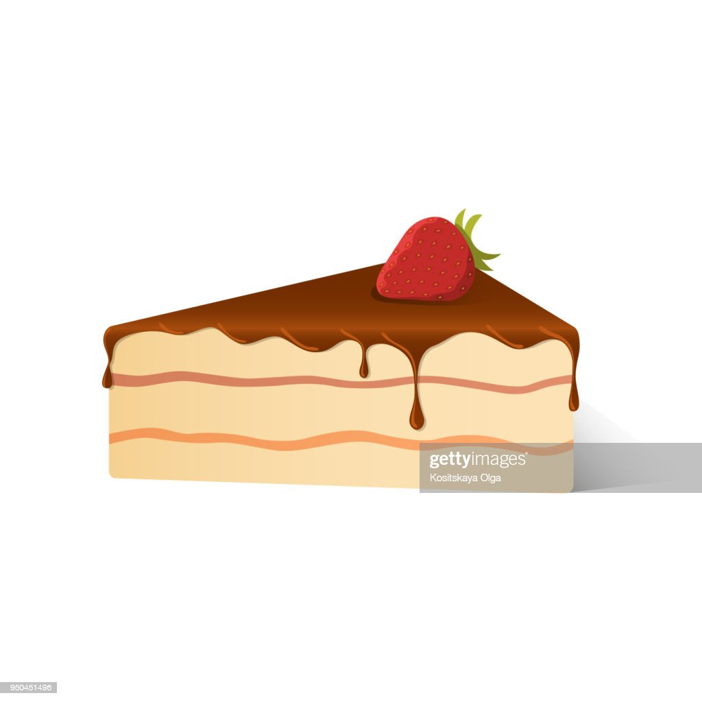Isolated pie of birthday sponge cake with dark chocolate and red strawberry with shadow on white background.