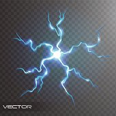 Isolated realistic lightning bolt with transparency for design. Flash thunderstorm and thunderbolt realistic effect. Magic and bright lighting natural effects with transparency vector illustration