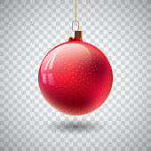 Isolated Red Christmas ball on transparent background. Vector illustration.