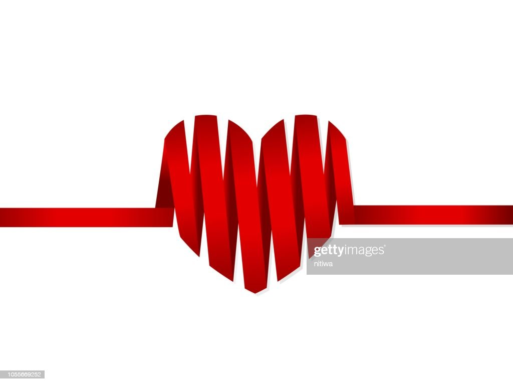 isolated red ribbon heart element for valentine's card, wallpaper, cover, background, banner, label, texture or other use like health care theme etc. vector design