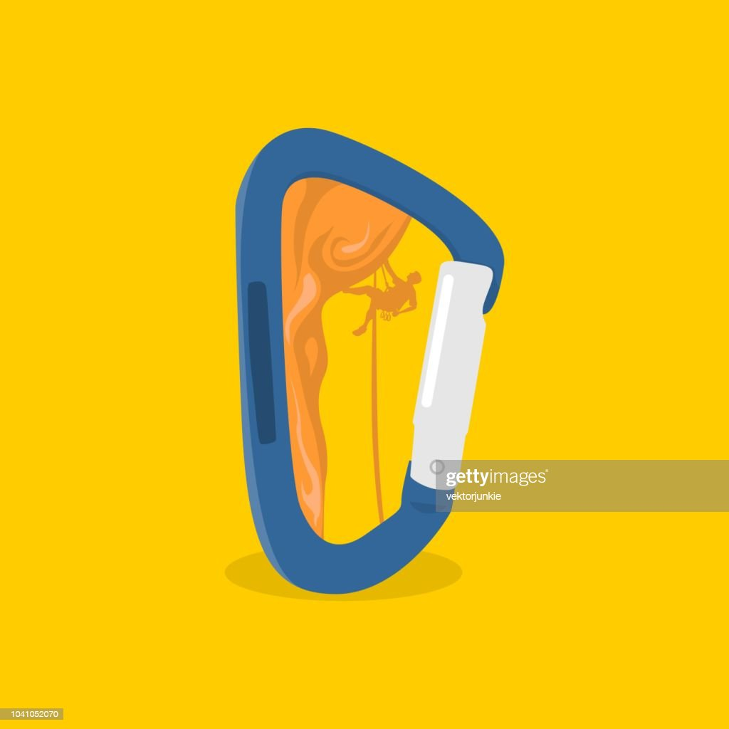 isolated rock climber climbing inside of carabiner vector flat style illustration