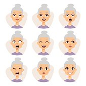 Isolated set of funny granny avatar expressions face emotions vector