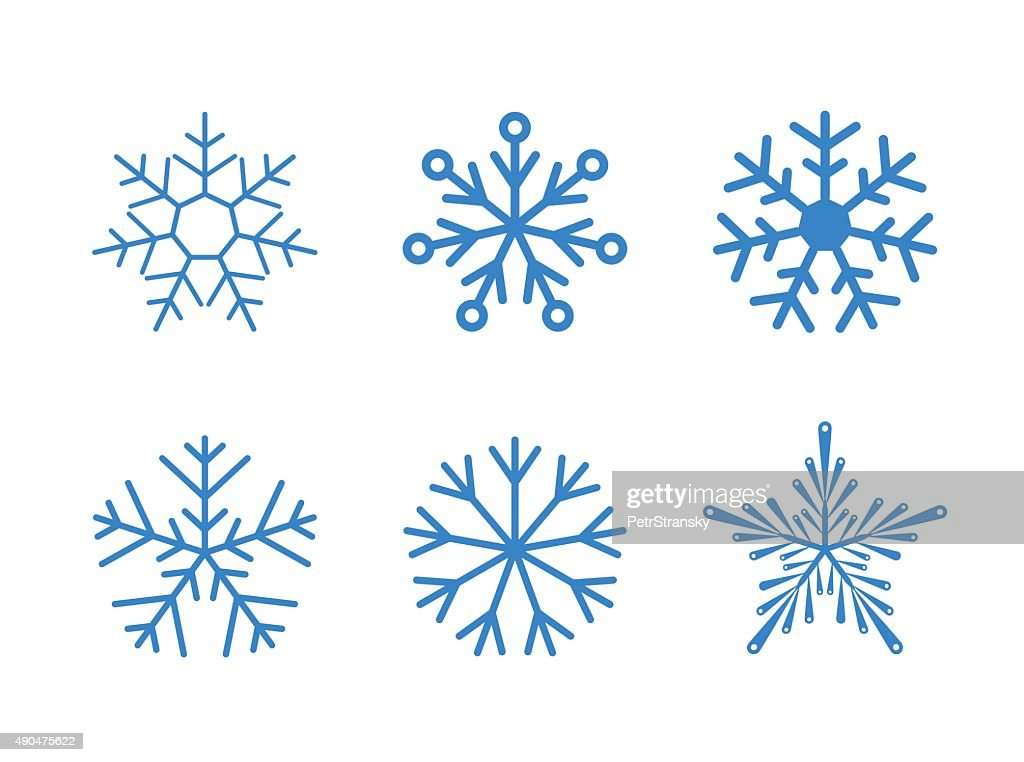 Isolated set of vector snowflakes on white background