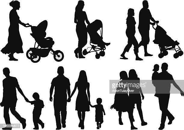Isolated silhouettes of different families
