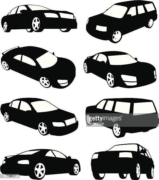 isolated silhouettes of modern cars - suv stock illustrations, clip art, cartoons, & icons