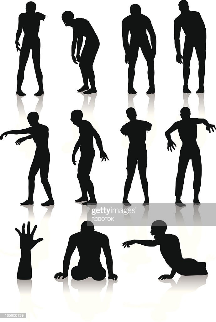 Isolated silhouettes of zombies