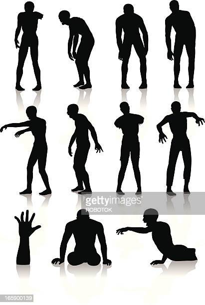 isolated silhouettes of zombies - zombie stock illustrations, clip art, cartoons, & icons