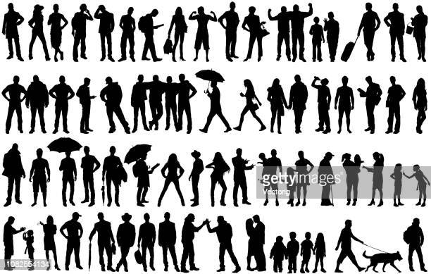 ilustrações de stock, clip art, desenhos animados e ícones de isolated silhouettes with large group of people - silhueta