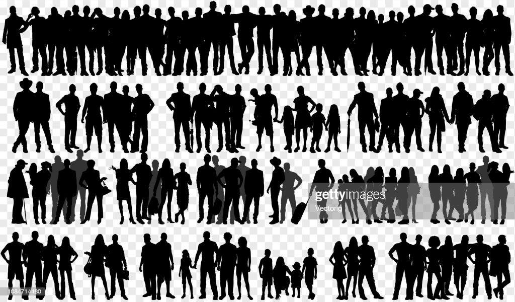 Geïsoleerde silhouetten met grote groep mensen : Stockillustraties