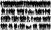 Isolated silhouettes with large Group of people