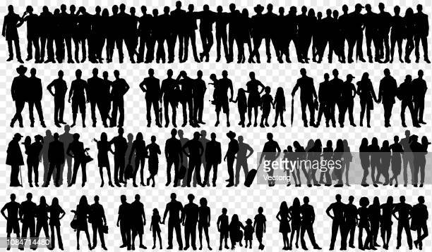 illustrazioni stock, clip art, cartoni animati e icone di tendenza di isolated silhouettes with large group of people - collezione