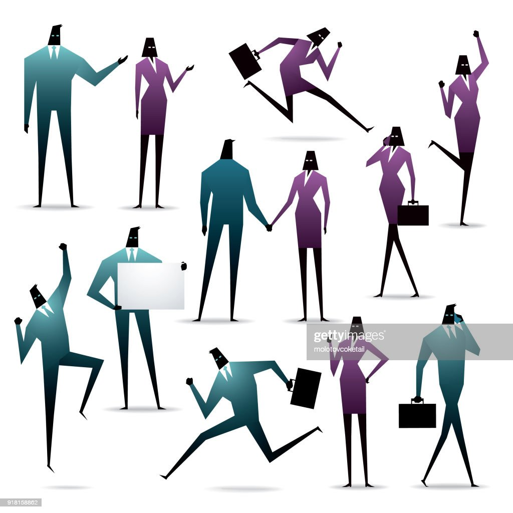 isolated simple geometry businessperson silhouette icon set with