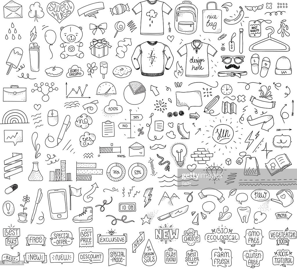 Isolated sketch objects bundle. Mega set of vector doodles. Hand