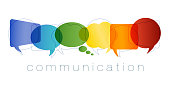 Isolated Speech bubble with rainbow colors. Communication and network concept. Text communication. Online community. Friends chatting. Contacts and online marketing. Vector