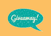 Isolated sticker with the inscription Giveaway! bright bubble speech. Horizontal banner.