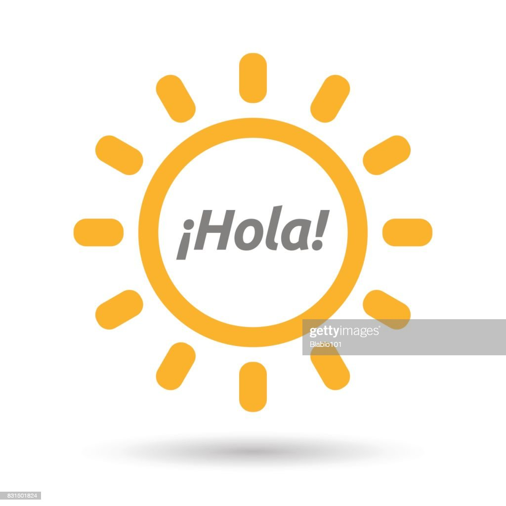 Isolated Sun with  the text Hello! in spanish language