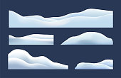 Isolated, transparent of snow caps, pile, icicles, ice, snowball and snowdrift. Winter decorations, Christmas, snow texture, white elements, holiday vector snow.