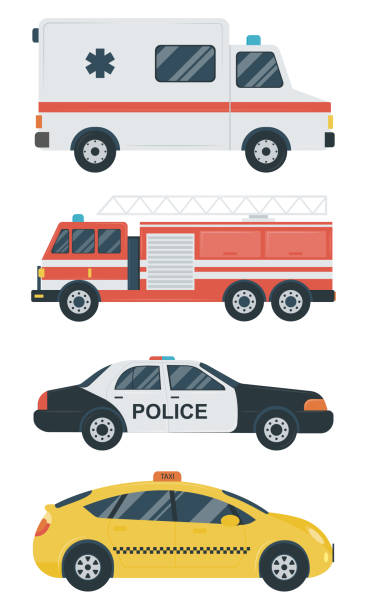 Isolated transport icons. Police car, ambulance, firetruck, taxi. Flat design. Vector