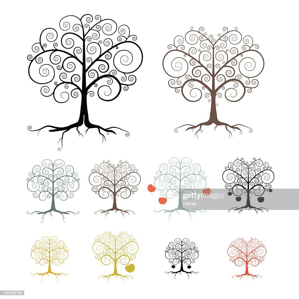 Isolated Trees Set Illustration