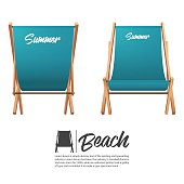 Isolated two turquoise summer beach chair in front and back view.