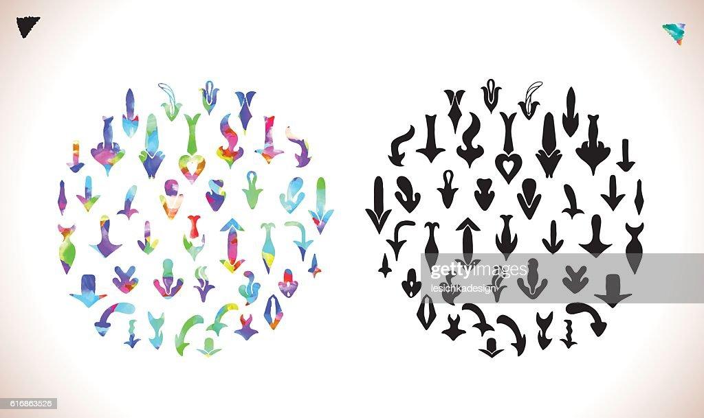 Isolated vector hand drawn arrows set : Vector Art