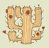 Isolated vector hand drawn cactus with flowers and thorns