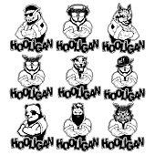 Isolated vector illustration a set strong wild animals- men. Logo.