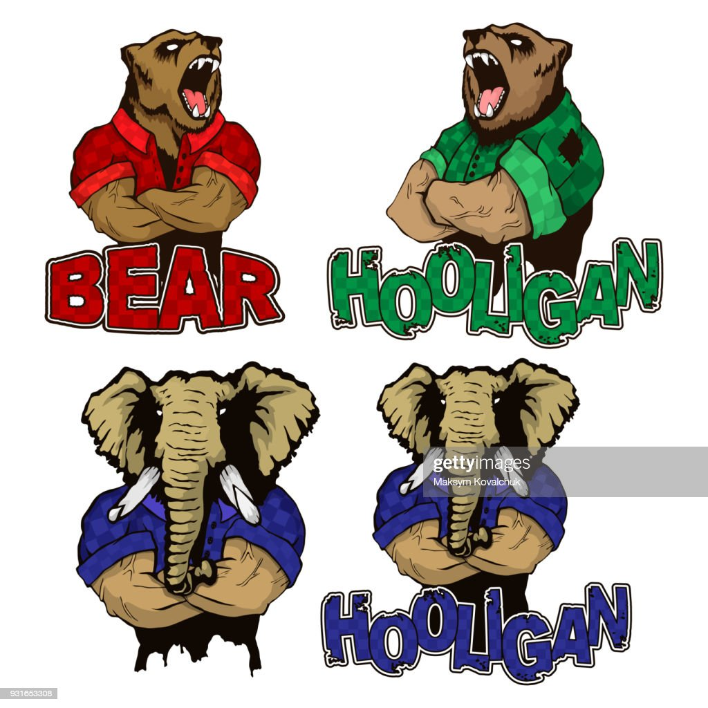 Isolated vector illustration of a set strong wild animal - men.