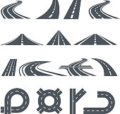 Isolated vector pictures of pathway, different roads and long highway