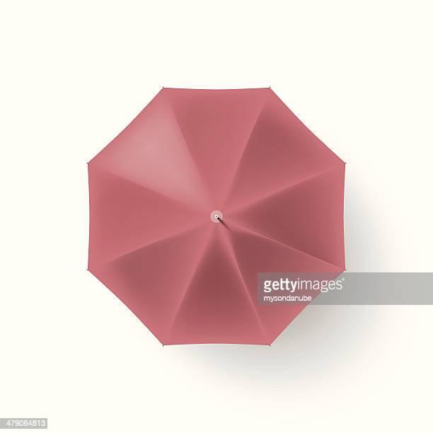 vector de paraguas aislado rojo, vista superior