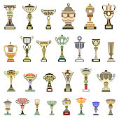 isolated vector trophy cups