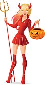 Isolated vector woman in Halloween devil costume with pumpkin basket.