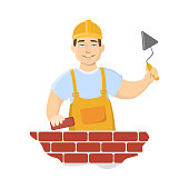 Isolated wall builder on white background. r on white background.