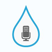 Isolated water drop with  a microphone sign
