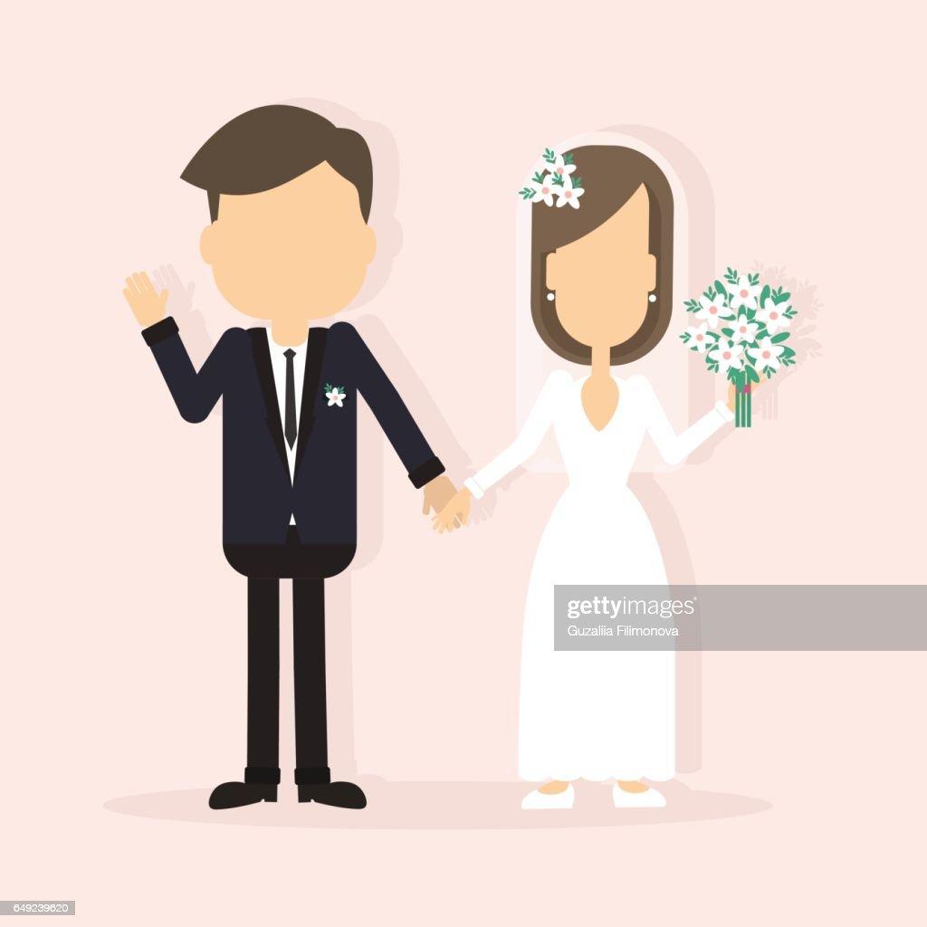 Isolated wedding couple.
